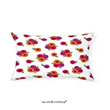 VROSELV Custom pillowcasesDecorative Floral Theme Pattern Gerbera Flowers on a White Background Illustration for Bedroom Living Room Dorm Pink Red and Purple(14''x24'')