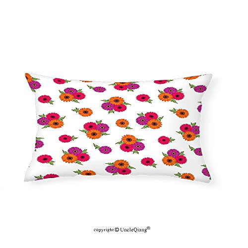 VROSELV Custom pillowcasesDecorative Floral Theme Pattern Gerbera Flowers on a White Background Illustration for Bedroom Living Room Dorm Pink Red and Purple(14''x24'') by VROSELV