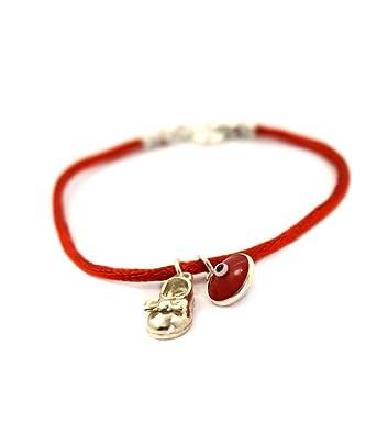 Women's Evil Eye & Hamsa Silver Charm Red String Protection Bracelet - 18 CM zegCCa