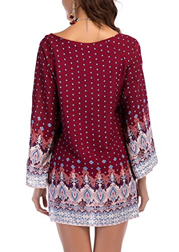 Dress Bohemian Women's Tunic Long Style Vintage White Ethnic Loose Printed Sleeves Red Holagift Casual Pgwqdv5q