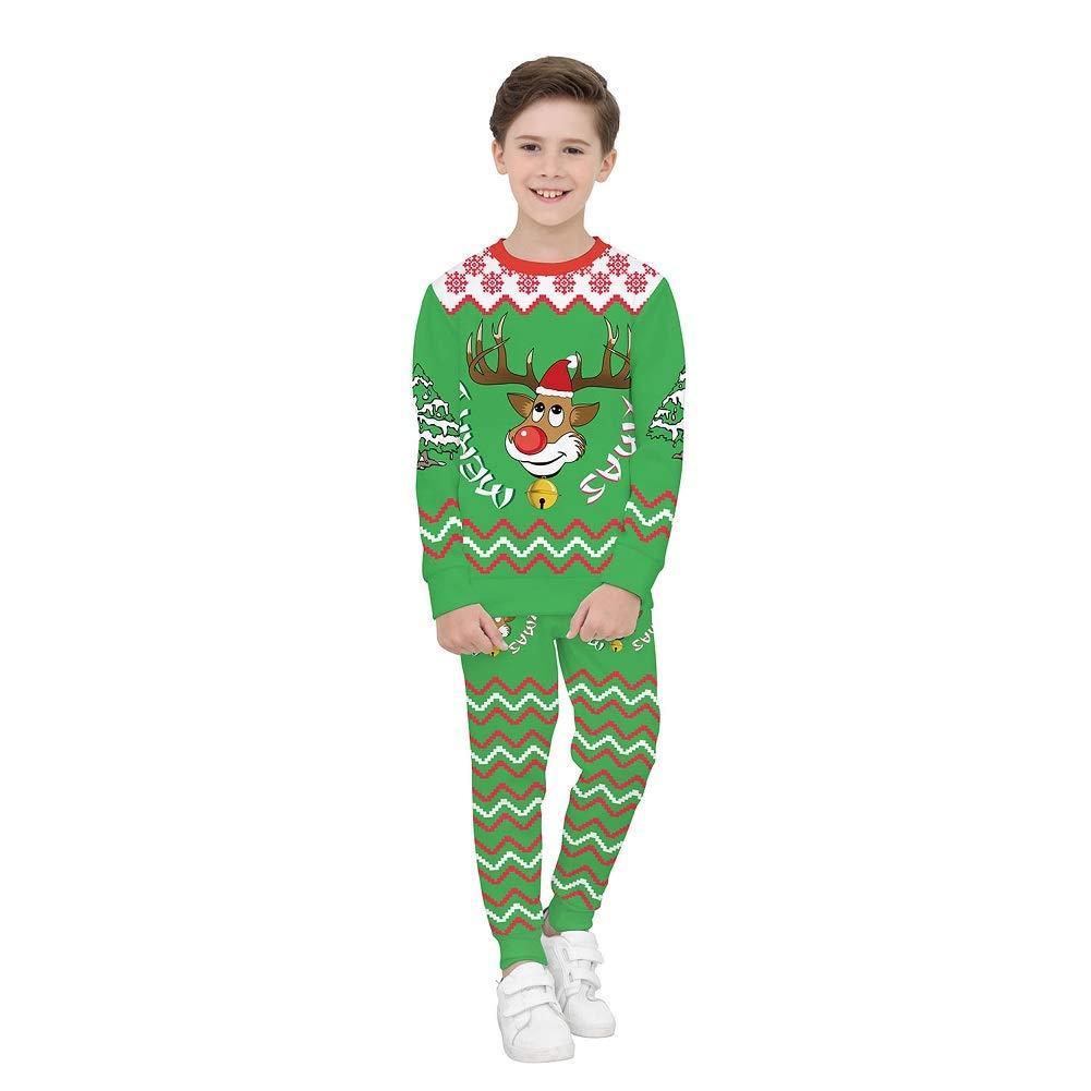 Costume Natalizio Per Bambini, 3D Elk Natale Stampa Digitale Felpa A Maniche Lunghe Per Bambini + Pantaloni Sportivi Set Due Pezzi (Miglior Regalo Di Natale),L