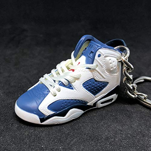 Air Jordan VI 6 Retro Olympic Navy Blue White OG Sneakers Shoes 3D Keychain 1:6 Figure