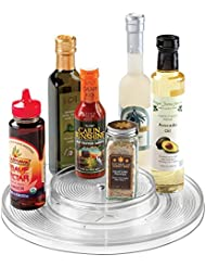 mdesign kitchen lazy susan turntable cabinet spice organizer rack for salt pepper cinnamon ginger 2tier clear