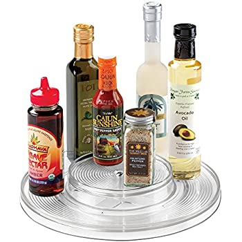 mdesign kitchen lazy susan turntable cabinet spice organizer rack for salt pepper cinnamon