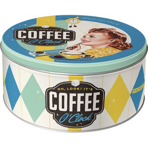 Nostalgic-Art 40361133060 Scatola Rotonda L Coffee O' Clock, Acciaio,, 21 x 21 x 10 cm Nostalgic Art 30606