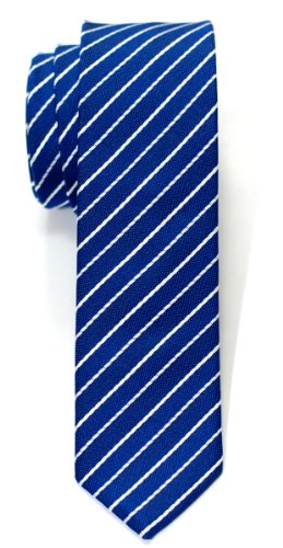Various Striped Thin With Thin Woven Necktie Skinny Tie Stripe Classic Retreez Colors White Blue BFH0W