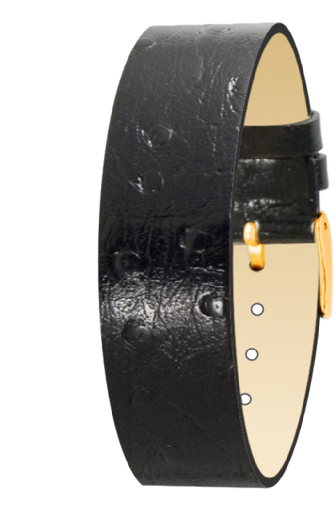 Moog Paris Black Calf Leather Bracelet for Women, Ostrich Pattern, Pin Clasp, 18mm Band - AV-17G