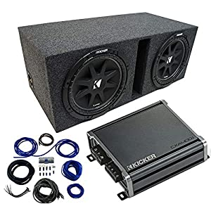 Dual-12-Kicker-CompC-Sub-Package-with-Kicker-46CXA4001-Amp-Vented-Enclosure