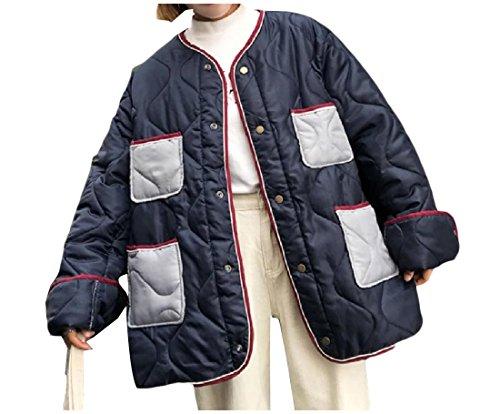 Coolred-Women Trim-Fit Pockets Embroidered Button Down Anorak Jacket Dark Blue (Embroidered Anorak Jacket)