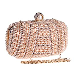 Cartera de Mano, Bolso de Fiesta de Noche con Perlas de Diamantes de imitación Bolso