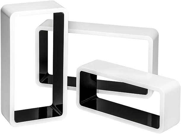 Blanc | no. 403185 Plusieurs Couleurs - tectake 800704 3 Etag/ères murales Cube rectangulaire Design en Bois pour des Livres CDs et de la d/écoration Mat/ériel de Montage Inclus
