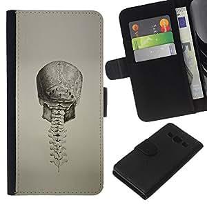 KLONGSHOP // Tirón de la caja Cartera de cuero con ranuras para tarjetas - Cráneo profunda espina dorsal de la vendimia de la muerte del motorista - Samsung Galaxy A3 //