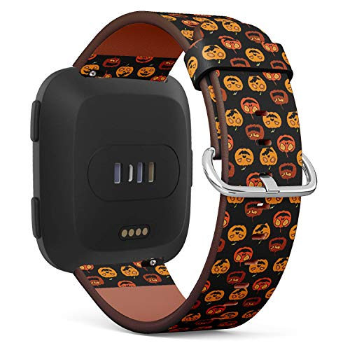 Compatible with Fitbit Versa - Quick-Release Leather Band Bracelet Strap Wristband Replacement - Halloween Festive
