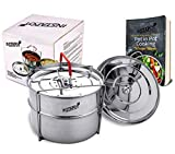 Instapot Stainless Steel Pot in Pot Stackable Steamer with Harness Handles for 6 & 8 Qt Baking, Lasagna, Food Steamer - with FREE Recipe Book DOWNLOAD