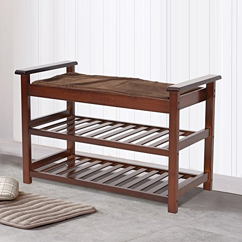 Lucky Tree Espresso Upholstered Bench with Padded Seat 2 Tiers Bamboo Storage Rack Standing Shoe organizer Shelf with Cushion for Entryway BedroomMud Room by Lucky tree (Image #6)