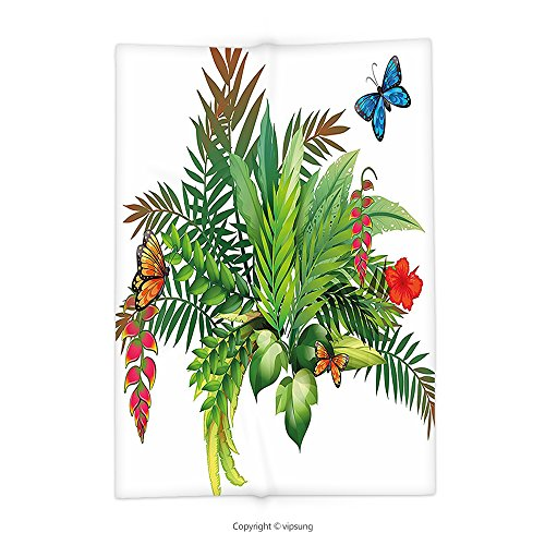 vipsung Throw Blanket with Floral Decor Gardening Theme Flowers Leaves and Butterflies Nature Illustration Print Fern Green Red Super Soft and Cozy Fleece Blanket