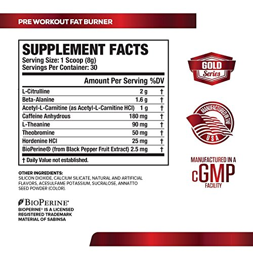 NITROSURGE SHRED Pre Workout Fat Burner Supplement 30 Servings, Orange Pineapple Flavor 8.5 oz