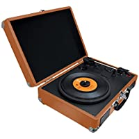 PYLE PVTTBT6BR Bluetooth Classic Vintage Style Vinyl Player Turntable, Vinyl-To-MP3 Record, Rechargeable Battery