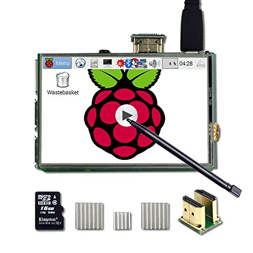UCTRONICS 3.5 Inch HDMI TFT LCD Display Kit with Touch Screen, Touch Pen, 3 Heat Sinks, 16GB SD Card Preinstalled Raspbian Software for Raspberry Pi 3 Model B+, 3 Mode B,Pi 2 Model B, Pi B+