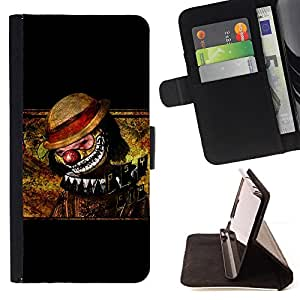 BullDog Case - FOR/Samsung ALPHA G850 / - / clown scary creepy art drawing hat nose /- Monedero de cuero de la PU Llevar cubierta de la caja con el ID Credit Card Slots Flip funda de cuer