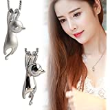 by lucky Fashion Women 925 Sterling Silver Cat Chain Pendant Necklace Charm Jewelry