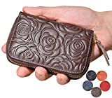 Beurlike Women's Floral Leather Credit Card Holder RFID Security Small Wallet (Coffee)