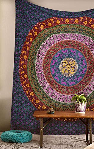 Cotton Tapestry Hanging - GLOBUS CHOICE INC. Tapestry Indian Dorm Decor Psychedelic Wall Hanging Ethnic Decorative (Queen Tapestry, Multicolor)