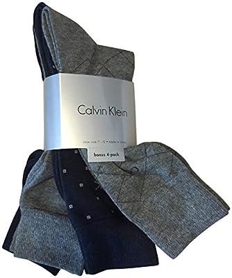 Calvin Klein Men's Dress Socks Cotton 4 Pack Navy Blue Grey