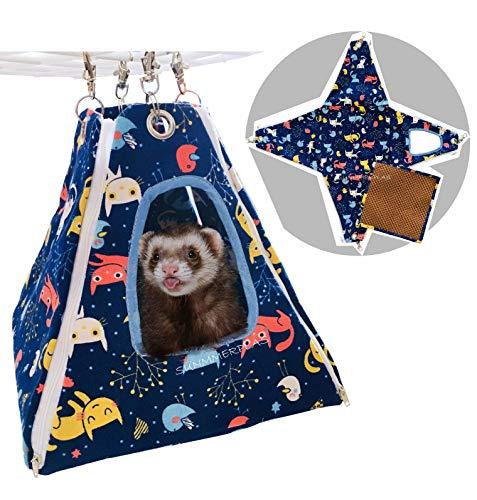 SummerPlus Small Animal Guinea Piget Ferret Rat Hamster Sleeper Hammock Accessories (Blue, 2 in 1 with Bamboo - Ferret Tent Hammock