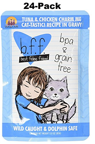 (24 Pack) B.F.F. – Best Feline Friend, Tuna & Chicken Charm Me with Tuna & Chicken in Gravy Cat Food by Weruva, 3oz Pouch
