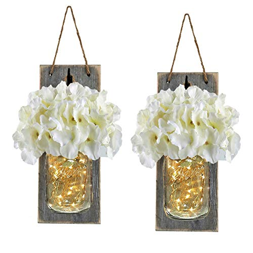 Jar Decor (Mason Jar Sconce Rustic Home Decor with Fairy LED String Lights and Flowers Farmhouse Chic Hanging Mason Jar Lights Sconces Wall Decor Accents (Set of 2)-White)