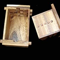 Secret Lock Box Wood Brain Teaser Puzzle - Unique Design - Put a Gift Inside