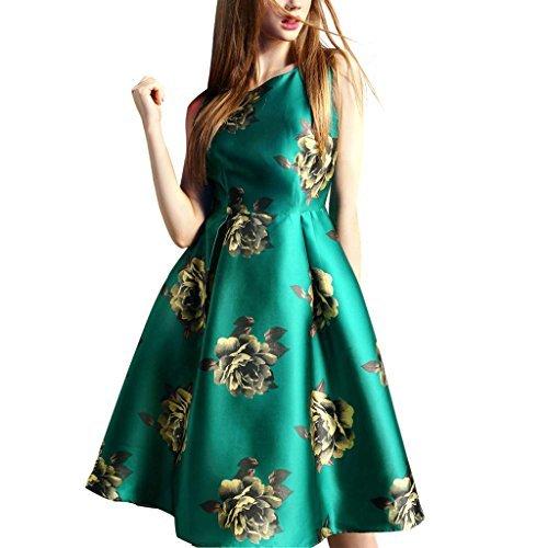 Buenos Ninos Women's Sleeveless Printed Short Slim Fit Vintage Cocatail Flare Dresses Green XXL Green Flower Dress
