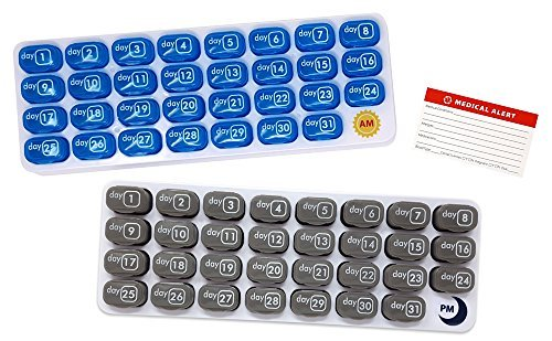 AM/PM 31 Day Monthly Pill Organizer Holder with Large Removable Medication Pods and Bonus Medical Alert Card - Blue for Morning and Grey for Evening - Daily Pill Pods are (Monthly Medication)
