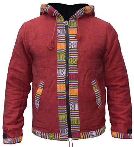 Ofal Con Cappuccio Little Rivestimento Kathmandu Etnica giacca Cotone Inverno Zip In Rouge Pile Stampa Uomo Nepalese EwERUOq