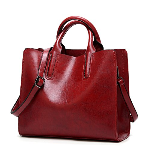 (Pinprin Purses and Handbags for Women Soft Leather Tote Bags Top Handle Purse Crossbody Satchel Shoulder Bags (Red))