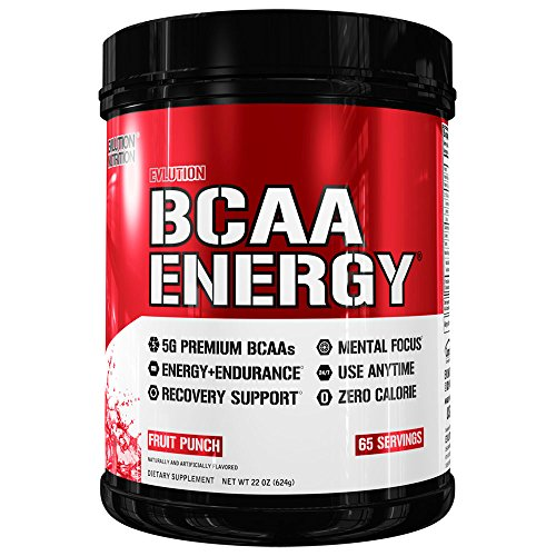 Evlution Nutrition BCAA Energy – High Performance, Energizing Amino Acid Supplement for Muscle Building, Recovery, and Endurance, Fruit Punch 65 Servings