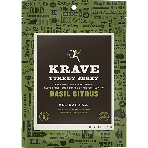 KRAVE Turkey Jerky, Basil Citrus, Gluten-Free, 2.7 Ounce (Pack Of 8)