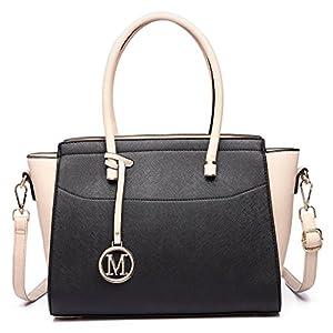 Miss Lulu Borsa donna alla moda Borsa a mano grande Borsa a tracolla elegante borsa messenger (nero/beige) 18