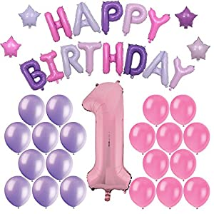 """First Girls Birthday Party Balloon Decorations: Includes Huge Inflatable Pink """"1"""" + Foil Balloon Happy Birthday Banner + 20 Latex balloons - All In Pink and Purple Colors"""