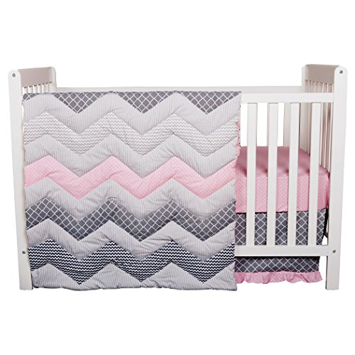 Trend Lab Chevron 3 Piece Crib Bedding Set, Cotton Candy - Trend Lab Cotton