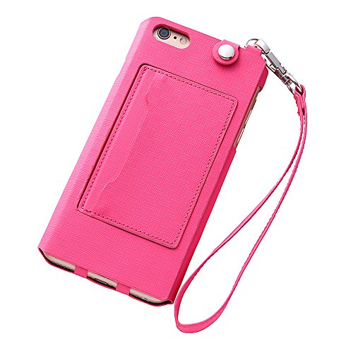 Colorful Strap Type Leather Case for iPhone 6 Plus (Raspberry)