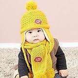 Yoyorule Lovely Baby Boys Girls Letter Print Knit Venonat Scarf Warm Hat Caps Set (Yellow)