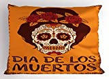 Lunarable Skull Pillow Sham, Frame with Mexican Skull Girl Hairstyle Carnival Smile Ornate Party Dance, Decorative Standard King Size Printed Pillowcase, 36 X 20 inches, Maroon Dark Orange