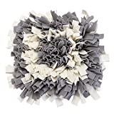 yoyoung Snuffle Mat for Dogs Handmade Dog Training Mat Play Mat Dog Nosework Blanket Encourages Natural Foraging Skills 16''x16'' (Grey+White)