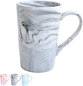 Marbling Ceramic Coffee Tall Mug, Tea Cup for Office and Home, 13 Oz, Dishwasher and Microwave Safe, 1 PCS (Grey-high, 1)