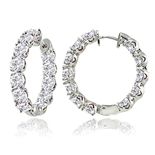 Sterling Silver 5mm Cubic Zirconia Inside Out Round Small Hoop Earrings
