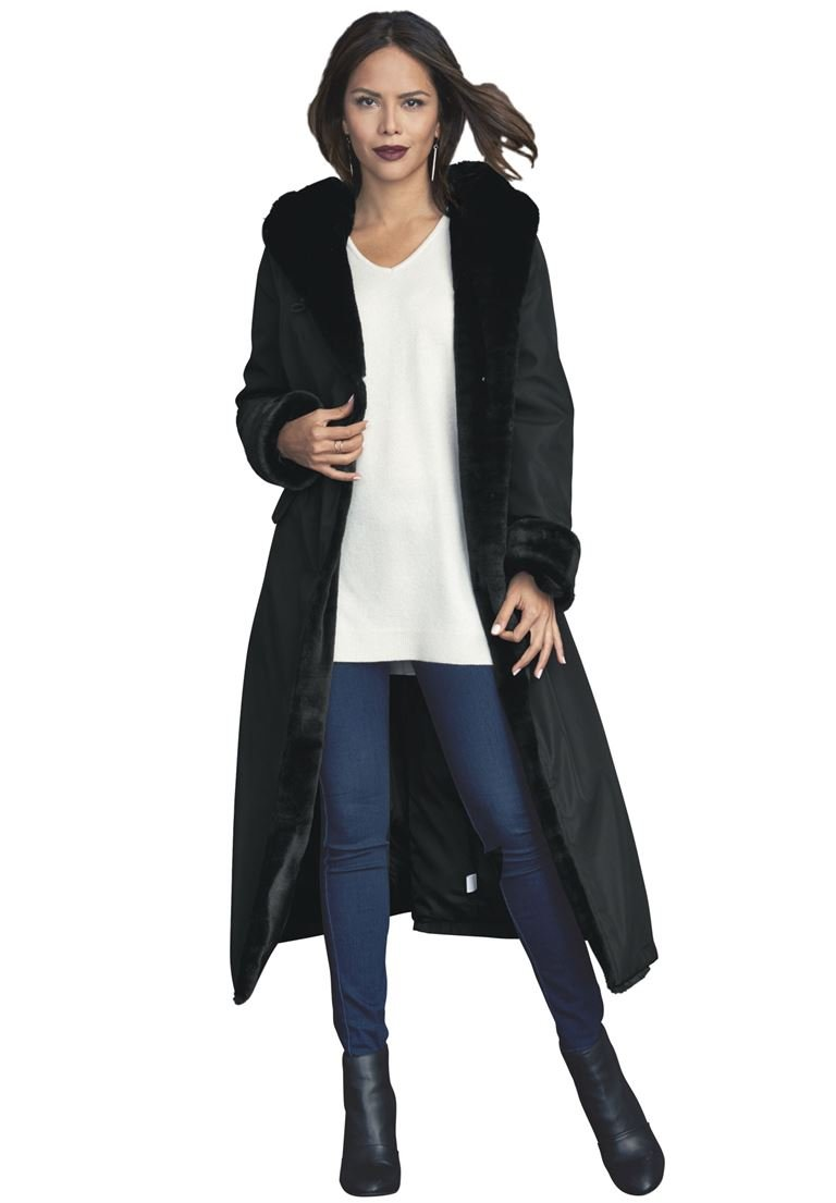 Roamans Women's Plus Size Faux Fur Lined Raincoat Black,1X by Roamans