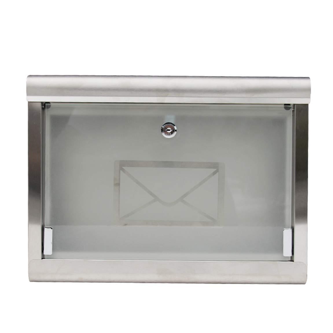 HLQW ヨーロッパスタイルのメールボックスヴィラ、雨に耐える壁掛け郵便箱、ステンレススチールガラスの屋外ファッションレターボックス   B07JMM9YTL