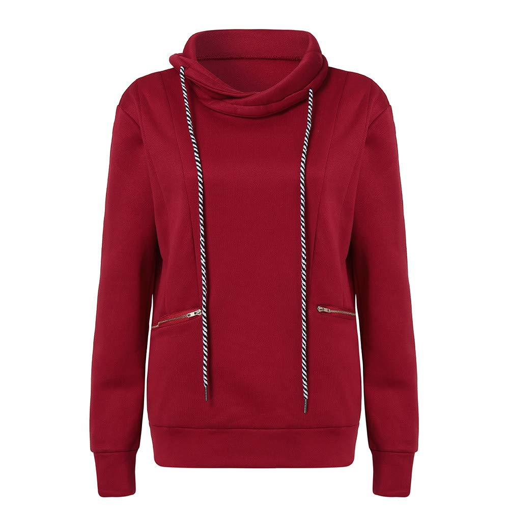 Sannysis Women Casual Stand Collar Long Sleeve Solid Zipper Pocket Pullover Sweatshirt, Red M